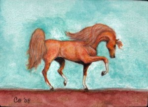 prancing-horse-watercolor-pencil-art