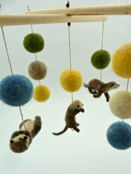felted otters crib mobile