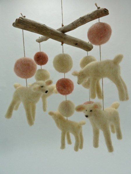 felted wooly sheep lambs mobile for insomniacs