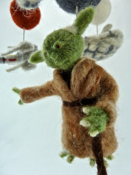 needle felted yoda mobile